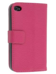 iPhone 4/4S Slim Synthetic Leather Wallet Case with Stand - Pink Leather Wallet Case
