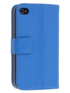 iPhone 4/4S Slim Synthetic Leather Wallet Case with Stand - Blue