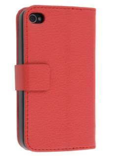 iPhone 4/4S Slim Synthetic Leather Wallet Case with Stand - Red Leather Wallet Case