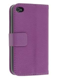 iPhone 4/4S Slim Synthetic Leather Wallet Case with Stand - Purple Leather Wallet Case