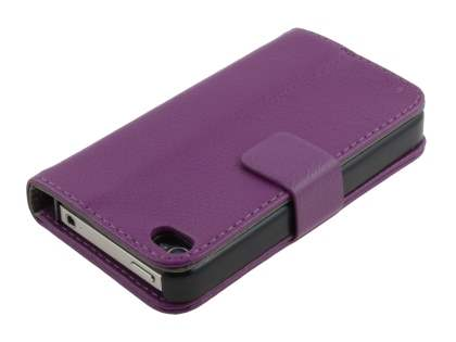 iPhone 4/4S Slim Synthetic Leather Wallet Case with Stand - Purple