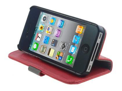 iPhone 4/4S Slim Synthetic Leather Wallet Case with Stand - Red