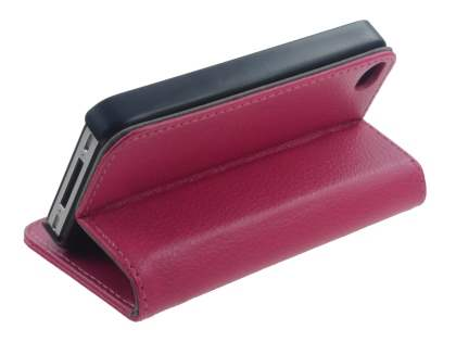 iPhone 4/4S Slim Synthetic Leather Wallet Case with Stand - Pink