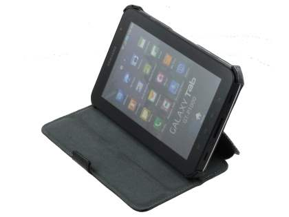 Samsung Galaxy Tab P1000 Synthetic Snakeskin Leather Case with Tilt Stand - Black Leather Flip Case