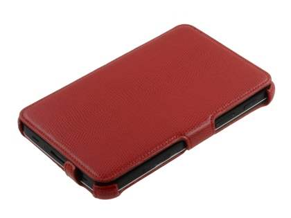 Samsung Galaxy Tab P1000 Synthetic Snakeskin Leather Case with Tilt Stand - Red