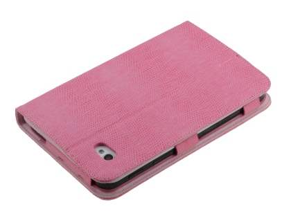 Samsung Galaxy Tab P1000 Synthetic Snakeskin Leather Case with Tilt Stand - Baby pink