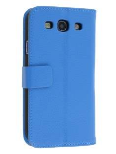 Samsung I9300 Galaxy S3 Slim Synthetic Leather Wallet Case with Stand - Sky Blue