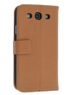 Samsung I9300 Galaxy S3 Slim Synthetic Leather Wallet Case with Stand - Brown Leather Wallet Case