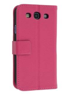 Samsung I9300 Galaxy S3 Slim Synthetic Leather Wallet Case with Stand - Pink Leather Wallet Case