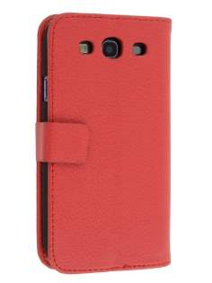 Samsung I9300 Galaxy S3 Slim Synthetic Leather Wallet Case with Stand - Red Leather Wallet Case