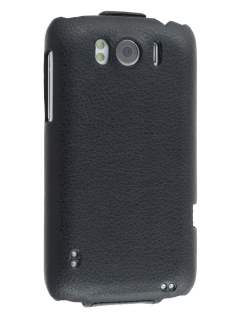 HTC Sensation XL Slim Synthetic Leather Flip Case - Classic Black