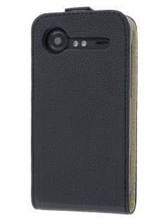 HTC Incredible S Slim Synthetic Leather Flip Case - Classic Black Leather Flip Case