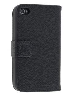 Premium iPhone 4S/4 Genuine Leather Wallet Case - Classic Black Leather Wallet Case