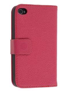 Premium iPhone 4S/4 Genuine Leather Wallet Case - Pink Leather Wallet Case