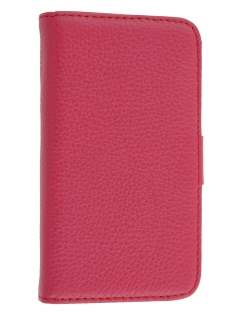 Premium iPhone 4S/4 Genuine Leather Wallet Case - Pink
