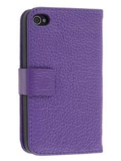 Premium iPhone 4S/4 Genuine Leather Wallet Case - Purple Leather Wallet Case