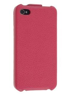 Premium iPhone 4S/4 Slim Genuine Leather Flip Case - Pink Leather Flip Case