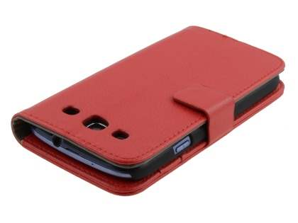 Samsung I9300 Galaxy S3 Slim Synthetic Leather Wallet Case with Stand - Red