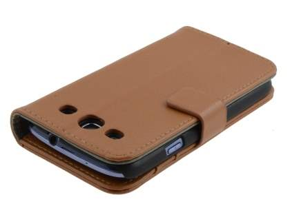 Samsung I9300 Galaxy S3 Slim Synthetic Leather Wallet Case with Stand - Brown