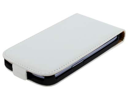Samsung I9300 Galaxy S3 Slim Synthetic Leather Flip Case - Pearl White