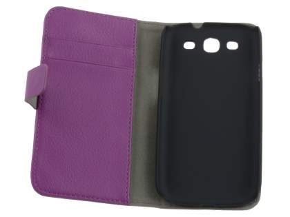 Samsung I9300 Galaxy S3 Slim Synthetic Leather Wallet Case with Stand - Purple
