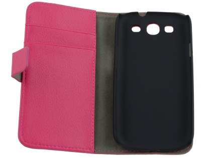 Samsung I9300 Galaxy S3 Slim Synthetic Leather Wallet Case with Stand - Pink