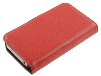 Premium iPhone 4S/4 Genuine Leather Wallet Case - Red