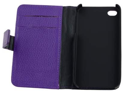 Premium iPhone 4S/4 Genuine Leather Wallet Case - Purple