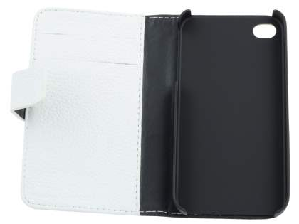 Premium iPhone 4S/4 Genuine Leather Wallet Case - Ivory