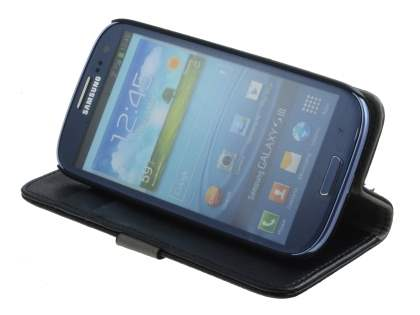Samsung I9300 Galaxy S3 Slim Synthetic Leather Wallet Case with Stand - Classic Black