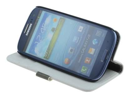Samsung I9300 Galaxy S3 Slim Synthetic Leather Wallet Case with Stand - Pearl White