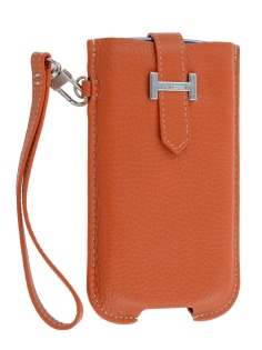 k-cool Genuine Leather Slide-in Case with Strap for Samsung Galaxy S3/S4 - Burned Orange