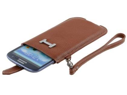 k-cool Genuine Leather Slide-in Case with Strap for Samsung Galaxy S3/S4 - Brown