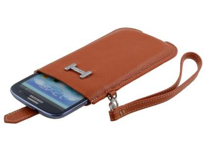 k-cool Genuine Leather Slide-in Case with Strap for LG Prada 3.0 - Burned Orange