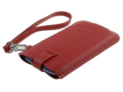 k-cool Genuine Leather Slide-in Case with Strap for Motorola RAZR XT910 - Red