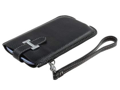 k-cool Genuine Leather Slide-in Case with Strap for HTC One X / XL / X+ - Classic Black
