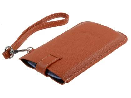 k-cool Genuine Leather Slide-in Case with Strap for Phones - Burned Orange