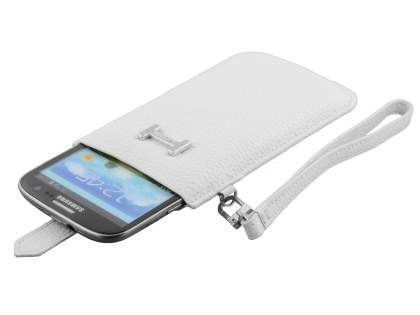 k-cool Genuine Leather Slide-in Case with Strap for Phones - Pearl White