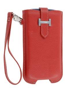 k-cool Genuine Leather Slide-in Case with Strap for Phones - Red Leather Slide-in Case