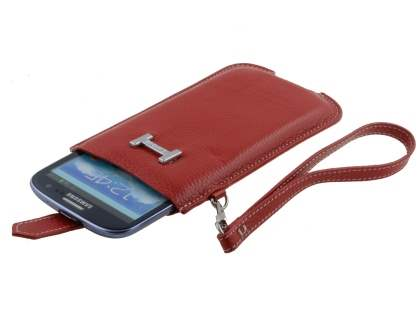 k-cool Genuine Leather Slide-in Case with Strap for Phones - Red