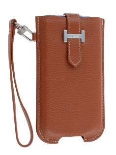 k-cool Genuine Leather Slide-in Case with Strap for Phones - Brown Leather Slide-in Case