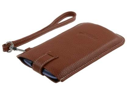 k-cool Genuine Leather Slide-in Case with Strap for Phones - Brown