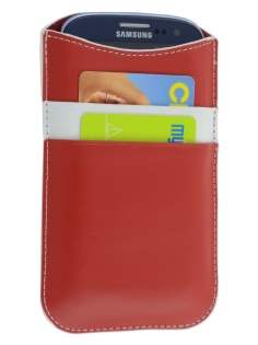 Synthetic Leather Slide-in Case for Samsung Galaxy S3/S4 - Red/White Leather Slide-in Case