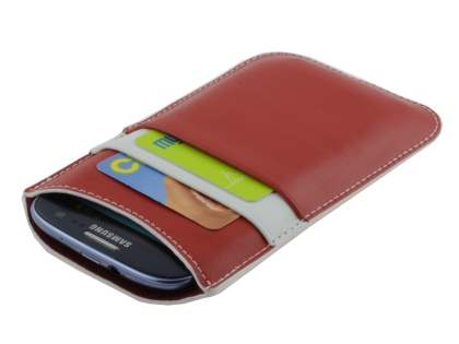 Synthetic Leather Slide-in Case for Samsung Galaxy S3/S4 - Red/White
