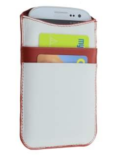 Synthetic Leather Slide-in Case for Samsung Galaxy S3/S4 - White/Red