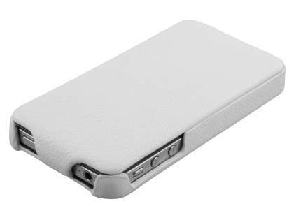 Premium iPhone 4S/4 Slim Genuine Leather Flip Case - Pearl White