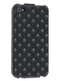 Synthetic Leather 3D Design Flip Case for iPhone 4S/4 - Classic Black Leather Flip Case