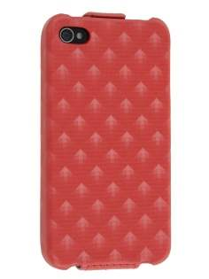 Synthetic Leather 3D Design Flip Case for iPhone 4S/4 - Red Leather Flip Case