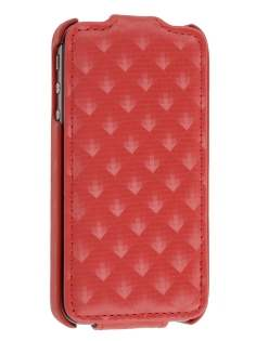 iPhone 4S / 4 Slim Synthetic Leather 3D Design Flip Case - Red