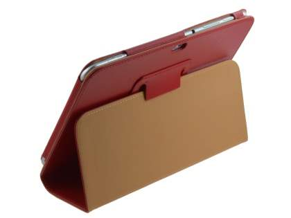 Synthetic Leather Flip Case with Fold-Back Stand for Samsung Galaxy Tab 8.9 4G - Red Leather Flip Case
